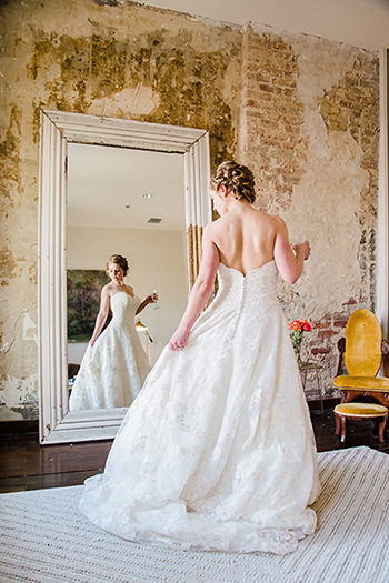 Bride Standing infront of mirror